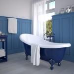 Baignoire peinte en bleu