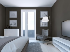 Peinture couleur taupe chambre.