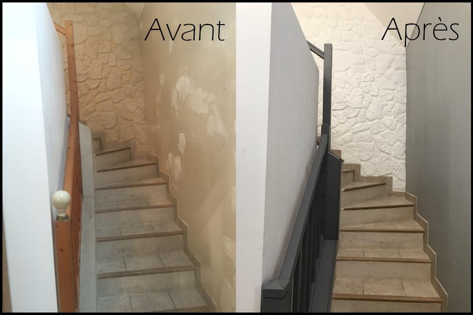 Peinture d'une rambarde d'escalier